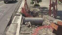 Moradores de Santos reclamam de obra inacabada em uma ciclovia na Zona Noroeste