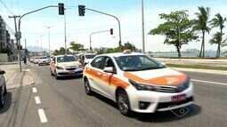 Taxistas de Vitória protestam contra circulação de táxis de outros municípios na capital