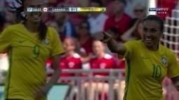 Os gols de Brasil 2x0 Canadá pelo amistoso internacional de futebol feminino