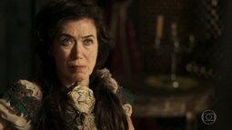 Virgínia fica intrigada ao saber que Rubião presenteou Joaquina
