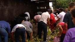 Moradores saqueiam milho após caminhão tombar na BR-153, em Goiânia