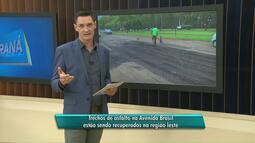 Trechos do asfalto na avenida Brasil passam por reparos