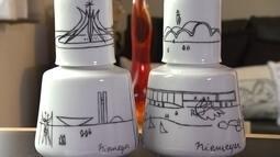 Artista de BH resgata desenhos de Niemeyer e transforma traços em pinturas e bordados