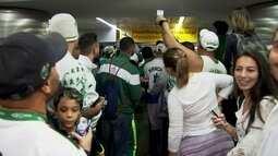 Torcida faz festa para recepcionar chegada da delegação do Palmeiras em Guarulhos