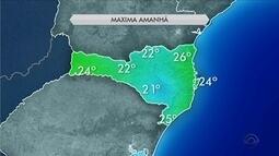 Frio predomina ao longo deste domingo (30) em todas as regiões de SC