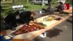 Colaborador manda imagens de tapete de Corpus Christi no RS