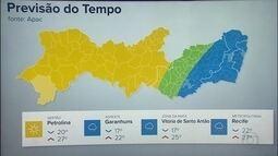 Veja a previsão do tempo para este domingo em Pernambuco