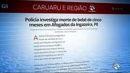 Polícia investiga morte de bebê de cinco meses em Afogados da Ingazeira, PE