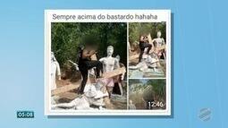 Jovem será indiciada ao postar foto em rede social em cima de estátua de ponto turístico