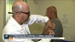 Dezesseis UBS abrem para vacinação contar febre amarela em SP