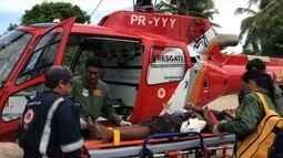 Garoto de doze anos fica ferido após cair em cima de vergalhão