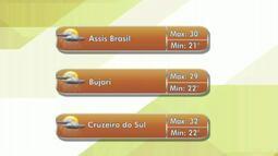 Confira a previsão do tempo para esta quarta-feira(21) no Acre