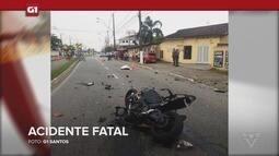 G1 em 1 Minuto Santos: Homem morre após pilotar moto a 130 Km/h em Praia Grande