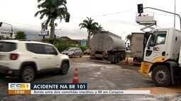 Acidente com duas carretas interdita trânsito na BR-101, na Serra, ES