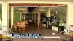 Criminosos roubam casas, comércios e assaltam surfistas em Setiba, Guarapari, ES