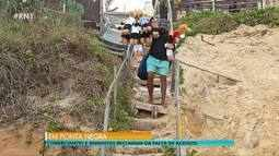 Comerciantes e banhistas reclamam da falta de acesso na praia de Ponta Negra em Natal