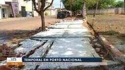 Temporal em Porto Nacional causa estragos pela cidade