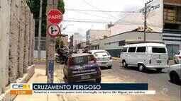 Pedestres e motoristas pedem mais sinalização no bairro São Miguel em Juazeiro do Norte