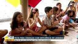 Festa traz alegria para crianças com deficiência, em Jaibaras