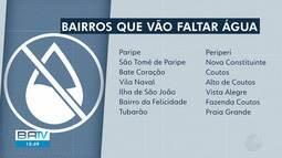 Subúrbio de Salvador terá fornecimento de água interrompido nesta quarta-feira (24)