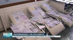 Após alagamento, funcionários fazem limpeza pra reabrir unidades em Cobilândia, Vila Velha