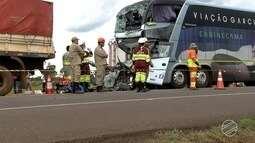 Motorista de ônibus morre em acidente na BR-163 próximo a Campo Grande