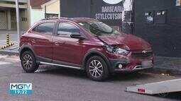 Motorista não respeita o sinal e invade barbearia em Uberlândia