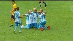 O gol da vitória do Crac sobre o Novo Horizonte por 1 a 0