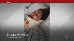 G1 em 1 minuto - Santos: Jovem de 24 anos fica tetraplégica ao 'pegar jacaré' no mar em SP