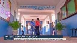 Aulas são retomadas em escola onde aluno foi flagrado com munições de pistola na mochila