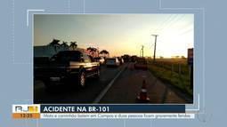 Duas pessoas ficam feridas em colisão entre moto e caminhão em Campos, no RJ