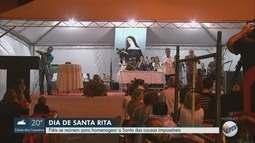 Fiéis se reúnem para homenagear o dia de Santa Rita de Cássia em Ribeirão Preto, SP