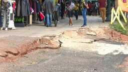 Erosão 'engole' parte do Calçadão em Rio Branco e preocupa lojistas