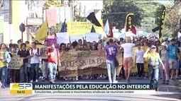 Estudantes fazem manifestações contra bloqueio de verbas na educação em SP.