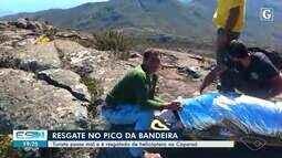 Turista com sinais de hipotermia é resgatado de helicóptero no Pico da Bandeira, no ES