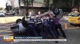 Carro capota e duas pessoas ficam feridas em Vitória