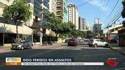 Duas pessoas ficam feridas em assaltos em Vitória e Cariacica, ES