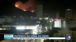 Fogo aumenta na Serra do Mimo e preocupa moradores de Barreiras, no oeste baiano