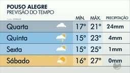 Confira a previsão do tempo para Varginha, Pouso Alegre e Poços de Caldas