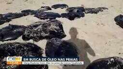 Mergulhadores tiram óleo em praias de Aracati, no Litoral Leste