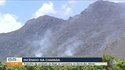 Incêndio em Rio de Contas continua devastando a área de preservação ambiental nesta terça