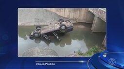 Motorista perde o controle e cai em córrego de Várzea Paulista