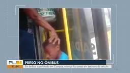 Em ônibus superlotado em Campos, criança fica presa em estrutura do veículo