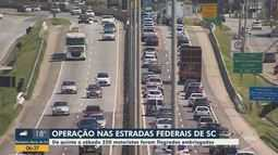 Cerca de 250 motoristas são flagrados dirigindo sob efeito de álcool no feriado em SC