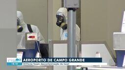 Militares fazem descontaminação do aeroporto de Campo Grande
