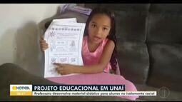 Em Unaí, projeto desenvolve materiais didáticos para alunos em isolamento social