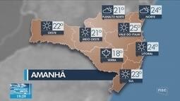 Veja como ficará o tempo em todas as regiões de SC nesta quarta-feira (8)