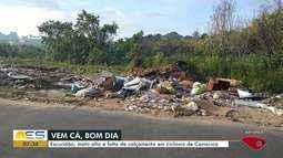 Vem Cá, Bom dia: Moradores reclamam de lixo, mato alto e escuridão em Cariacica, ES