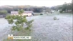 Geada, chuva congelada e neve granular: veja como foi o amanhecer no centro-sul do Brasil
