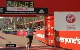 Tsegay Kebede, da Etipia, vence a maratona de Londres 2013, entre os homens